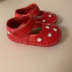 Red and white polka dot leather Mary Janes